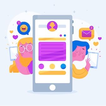 Concetto di social media con persone e tecnologia