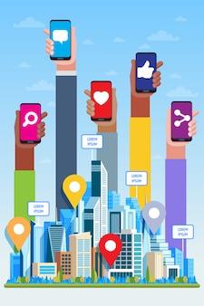 Concetto di social media. grattacieli e mani
