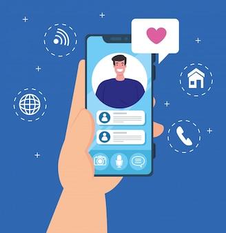 Concetto di social media, notifica di messaggi di chat su smartphone, uomo sullo schermo del telefono cellulare con il fumetto
