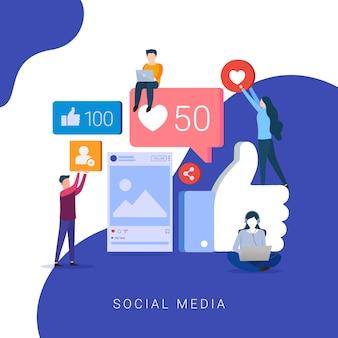 Concetto di social media per sito web e sito web mobile