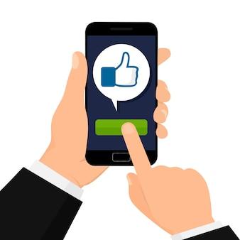 Concetto di social network. mi piace il pulsante.