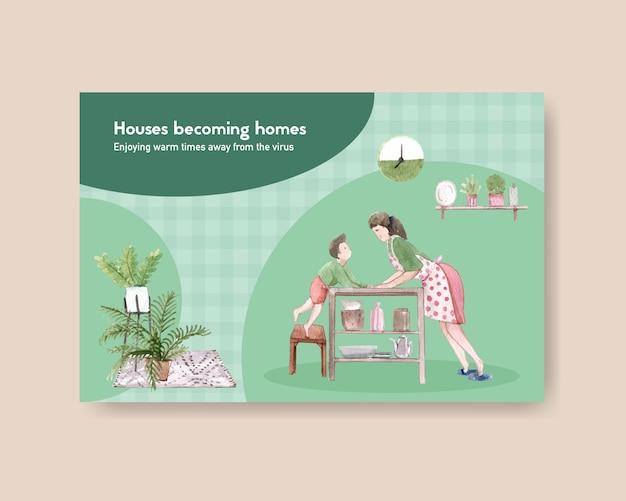 Concetto di soggiorno del modello di progettazione di facebook a casa con il carattere del figlio e della madre nell'illustrazione dell'acquerello della sala