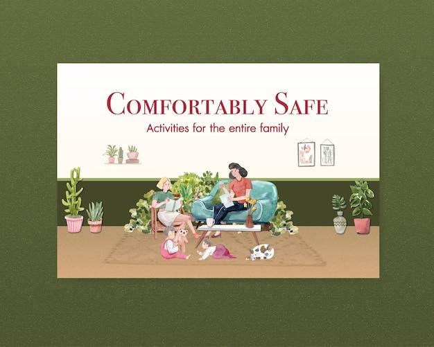 Concetto di soggiorno di progettazione del modello di facebook a casa con il libro di lettura della donna nella sala e la mini illustrazione dell'acquerello della stanza del giardino