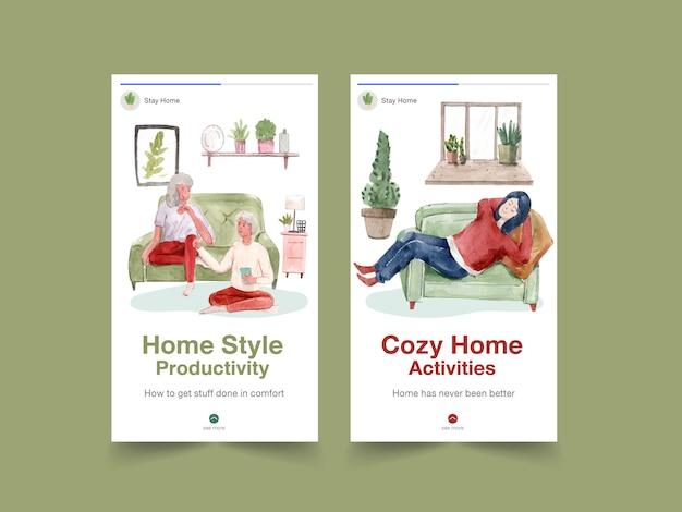 Concetto di soggiorno di progettazione di instagram a casa con il carattere della gente che si rilassa e che fa l'illustrazione dell'acquerello di attività