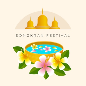 Concetto di songkran piatto