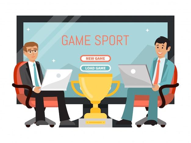 Concetto di sport del gioco online, manifestazione di tv degli esports di campionato del computer portatile del gioco del maschio del carattere isolata su bianco, illustrazione.