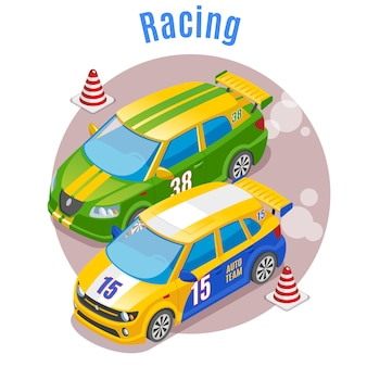 Concetto di sport di corsa con i simboli di pista e coni isometrici