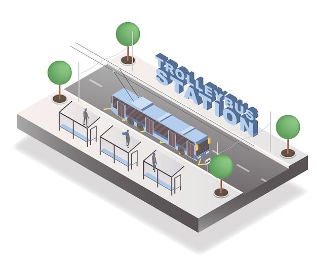 Concetto di stazione del filobus