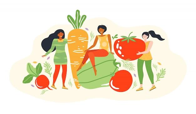 Concetto di stile di vita sano e alimentazione dietetica. gruppo di piccole giovani donne accanto a grandi verdure. personaggio dei cartoni animati femminile dieta e cibo sano. illustrazione piatta moderna.