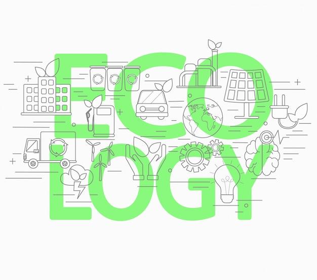 Concetto di stile linea di ecologia.