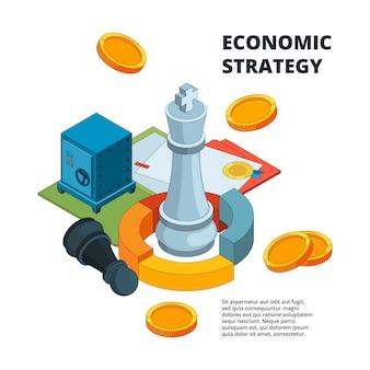 Concetto di strategia aziendale, simboli di pianificazione e gestione del successo aziendale nuovo livello target figure di scacchi isometriche