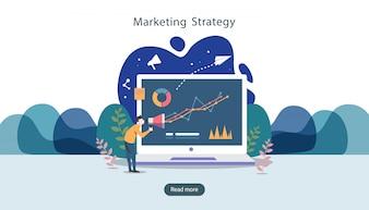 Concetto di strategia di marketing digitale con carattere di persone minuscole, tavolo, grafico sullo schermo del computer