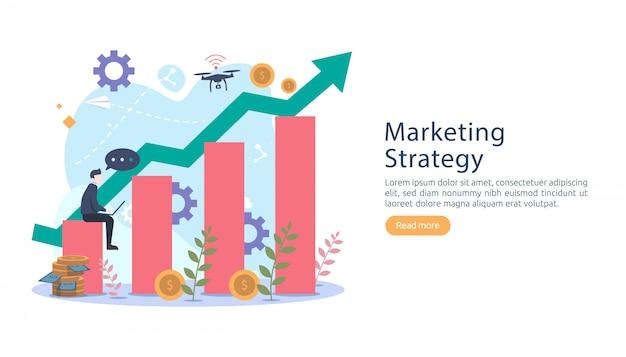 Concetto di strategia di marketing digitale con carattere di persone minuscole.