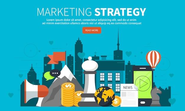 Concetto di strategia di marketing per sito web e mobile