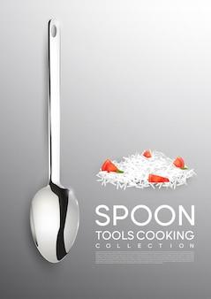 Concetto di strumento di cottura realistico con cucchiaio di metallo e prodotti alimentari su grigio