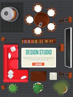 Concetto di studio di design con appartamento vista dall'alto