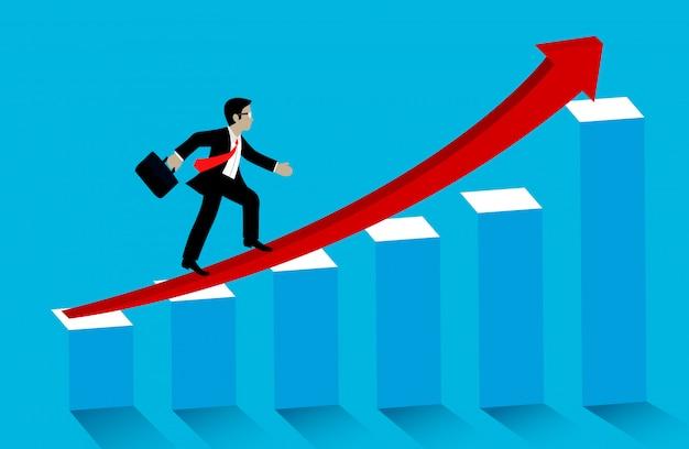 Concetto di successo aziendale. l'uomo d'affari cammina sulle frecce rosse sull'istogramma per fissare con crescita