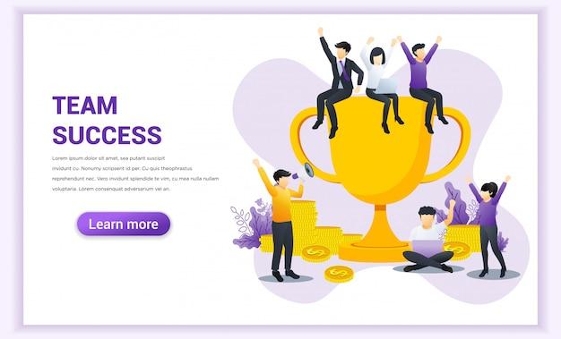Concetto di successo della squadra. lavoro di gruppo riuscito di affari. uomo d'affari e donne insieme celebrano la vittoria vincendo il trofeo d'oro.
