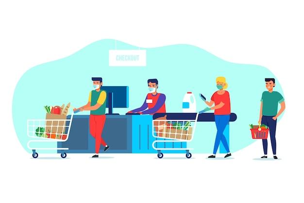 Concetto di supermercato coronavirus