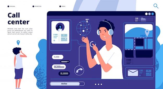 Concetto di supporto online. i clienti nel call center chattano con l'operatore, il consulente aiuta il cliente. pagina di destinazione del vettore di supporto 24x7