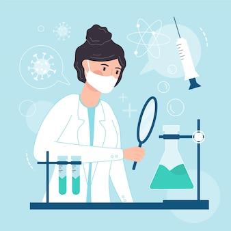 Concetto di sviluppo del vaccino con ricercatore
