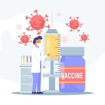 Concetto di sviluppo del vaccino contro il coronavirus