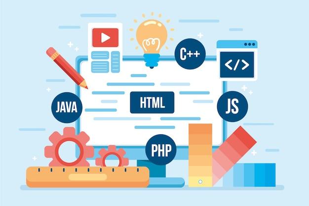 Concetto di sviluppo dell'app illustrato