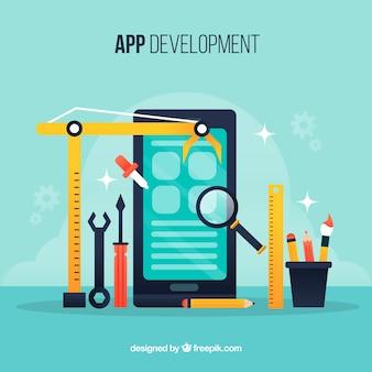 Concetto di sviluppo di app con design piatto