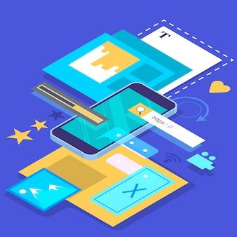 Concetto di sviluppo di app per dispositivi mobili. tecnologia moderna e interfaccia per smartphone. creazione e programmazione dell'applicazione. illustrazione isometrica