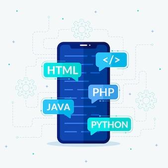 Concetto di sviluppo di app su smartphone