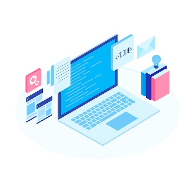 Concetto di sviluppo web, programmazione e codifica.