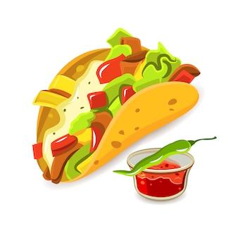Concetto di taco cibo messicano