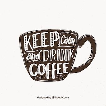 Concetto di tazza di caffè con lettering