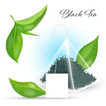 Concetto di tè nero con bustina di tè piramidale e foglie realistiche. illustrazione.