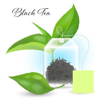 Concetto di tè nero con bustina di tè rettangolare e foglie realistiche. illustrazione.