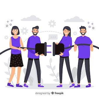Concetto di team di collegamento pagina di destinazione