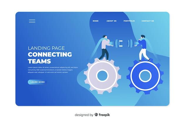Concetto di team di collegamento per landing page