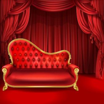 Concetto di teatro, realistico divano di lusso in velluto rosso con gambe intagliate dorate