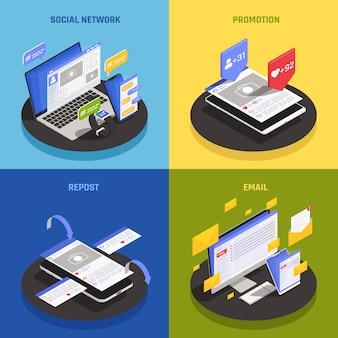 Concetto di tecnologia dei social media contemporanei 4 composizioni isometriche con l'utilizzo di promozioni di rete invio di messaggi di posta elettronica