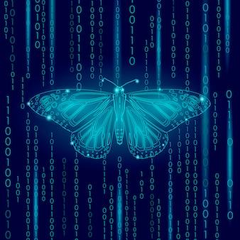 Concetto di tecnologia della natura, ispirazione dell'innovazione di ecologia di vita della farfalla di codice binario