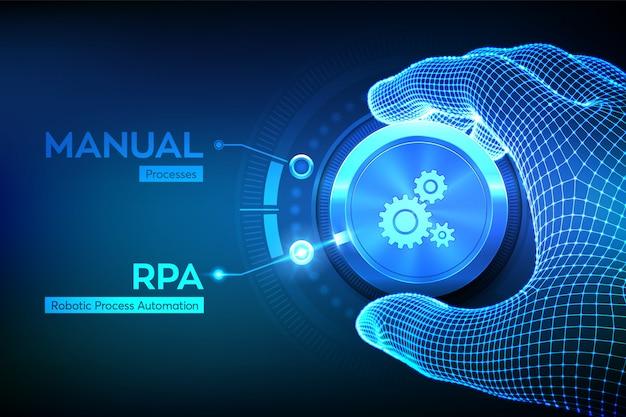 Concetto di tecnologia di innovazione di automazione di processo robotizzata rpa