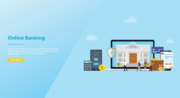 Concetto di tecnologia di pagamento mobile di attività bancarie online con la gente del gruppo per il modello del sito web o l'homepage di atterraggio