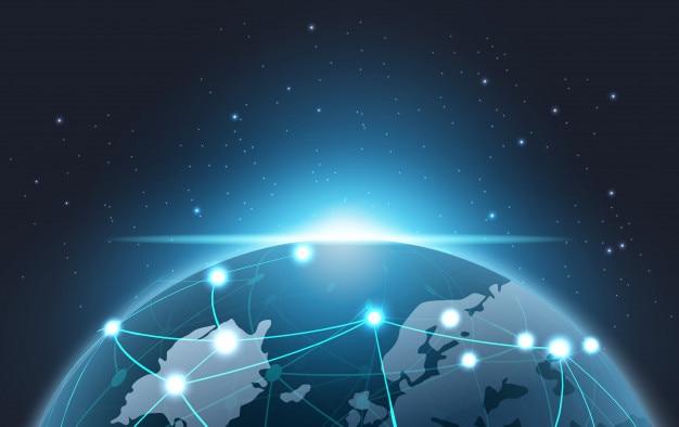 Concetto di tecnologia di rete del pianeta terra di blockchain