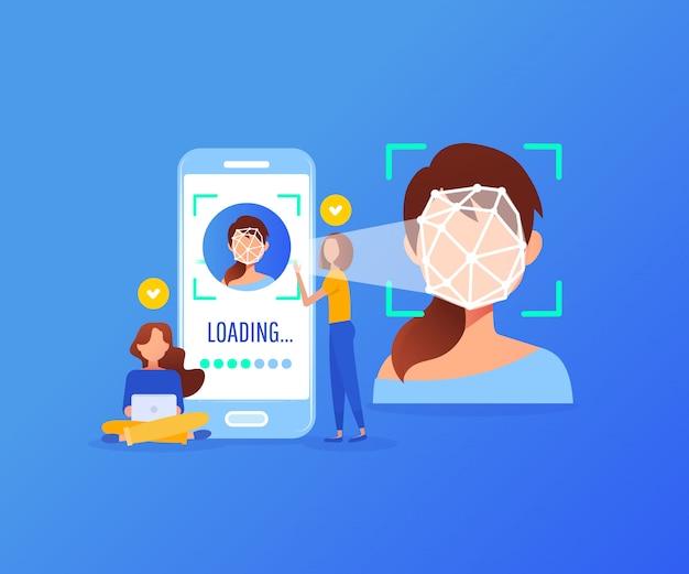 Concetto di tecnologia di riconoscimento facciale