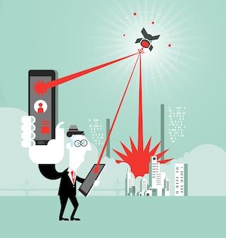 Concetto di tecnologia di using digital tablet dell'uomo d'affari