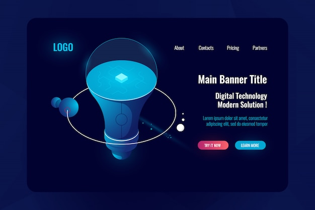 Concetto di tecnologia innovativa, lampadina, stazione spaziale orbitale, grande accumulazione di dati