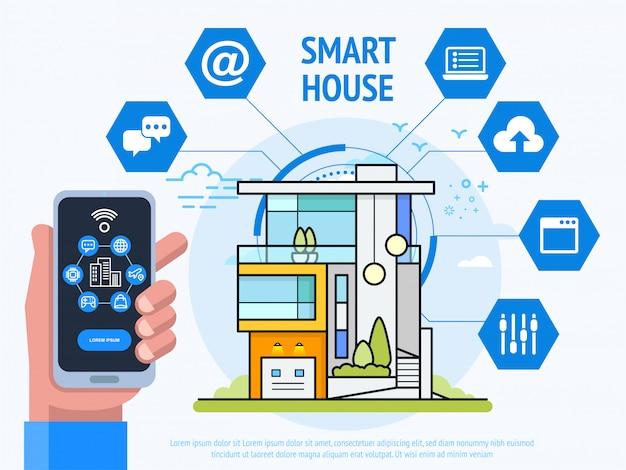 Concetto di tecnologia smart house. smartphone umano della tenuta della mano con l'app del sistema di controllo. illustrazione