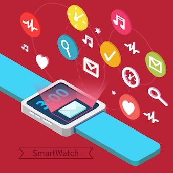 Concetto di tecnologia smart watch con mani e icone