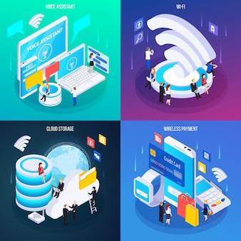 Concetto di tecnologia wireless 4 composizioni isometriche bagliore con pagamento wireless di servizio di assistenza vocale cloud storage