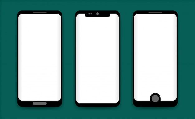 Concetto di telefoni moderni con schermi vuoti, modelli mobili realistici su sfondo trasparente. illustrazione di alta qualità.